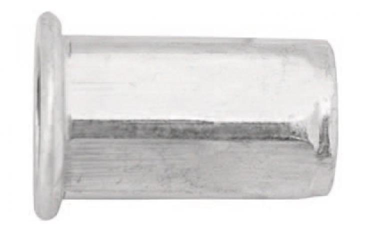 Nýtovací matice, ocel, šestihranný dřík, plochá půlkulatá hlava
