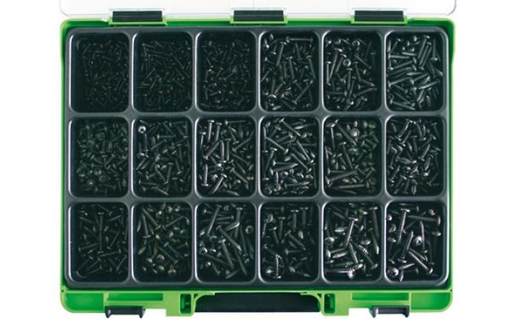 Sortimenty DIN 7981C černý zinek