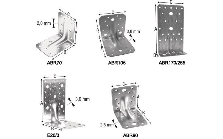 Úhlové svorníky ABR E20 E