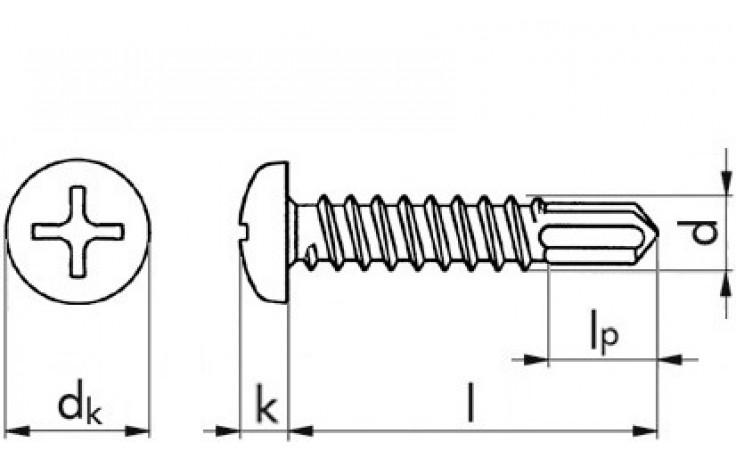 RECA Selbstbohrschrb.m.Linsenkopf+Kreuzschl.H2 3,9x32 mm ähnl.DIN7504N verzinkt