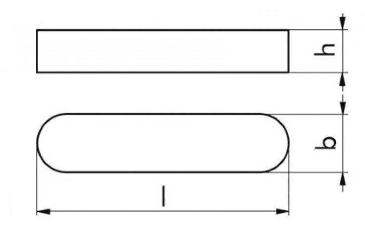 Detaily. Pera těsná. Přehled. Materiál: Ocel Pevnost: C 45 K Povrchová úprava: BPÚ DIN: DIN 6885 b: 10 mm l: 100.