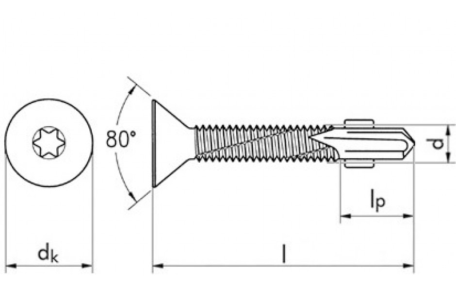 RECA sebS Flügelbohrschraube Senkkopf ~ DIN 7504P - Stahl - verzinkt blau - 6,3 X 100 - TX