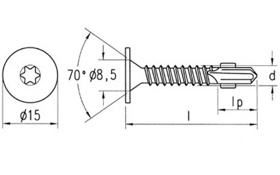RECA Flügel-Selbstbohrschrb.m.Senkkopf 15mm u.Fräsripp. 5,5x45mm blauchromatiert