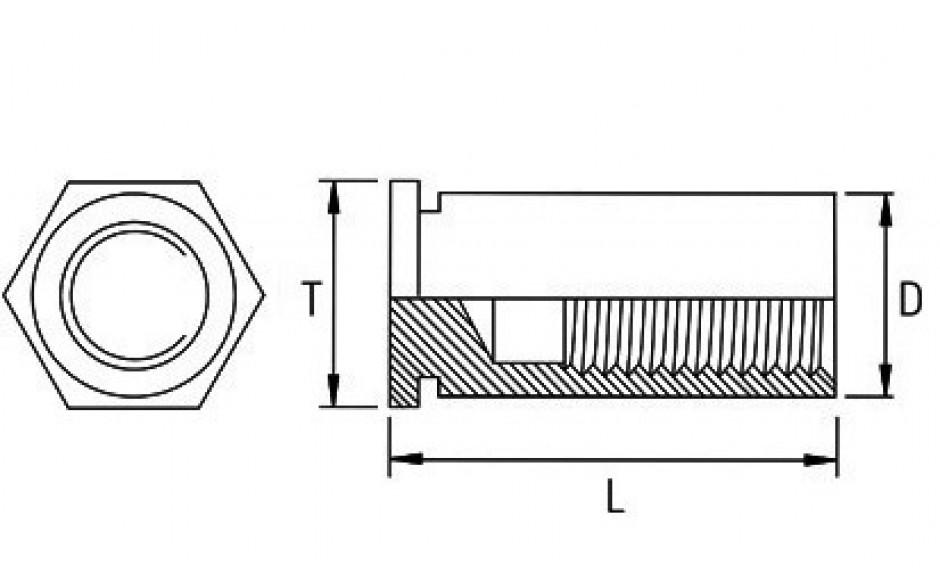 Einpressgewindebuchse - geschlossen - Stahl - verzinkt blau - M3 X 8