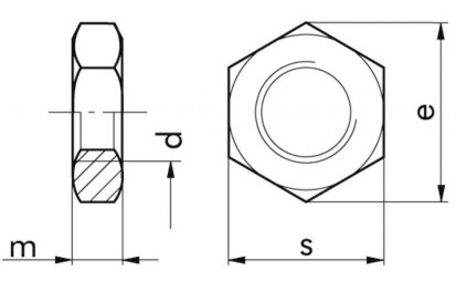 Sechskantflachmuttern M12 DIN 936 FKL 04 Stahl verzinkt