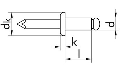 Blindniete ISO 15977 - Flachkopf - AL/A2 - 3 X 6 - Klemmbereich 1,5 - 3,5