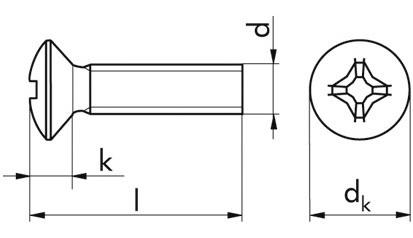 Linsen-Senkschraube DIN 966 - 4.8 - verzinkt blau - M3 X 16 - PH